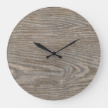 Rustic Tan Wood Texture Large Clock