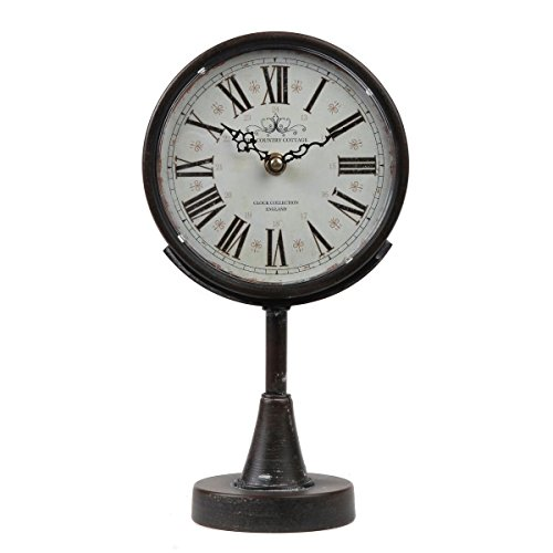 Lily's Home Antique Inspired Decorative Mantle Clock with Large Roman Numerals, Battery Powered with Quartz Movement, Fits with Victorian or Antique Décor Theme, Black (11 3/4″ Tall x 6 1/2″ Wide)