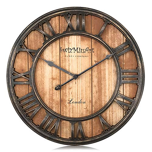 Swizmiuart Metal Wooden Rustic Art Decorative 3D Large Retro Wall Clock,Antique Mantel Roman Numeral Vintage Silent Quartz Clocks Home Decoration/Living Room/Bedroom/Office/Kitchen/(16 inch Brown)
