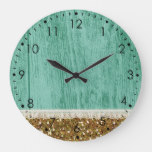 Gold Glitter White Lace Blue Wood Large Clock