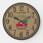 Vintage Red Truck & Trees Festive Christmas Large Clock