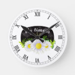 White Daisies on a Black Chalkboard Round Clock