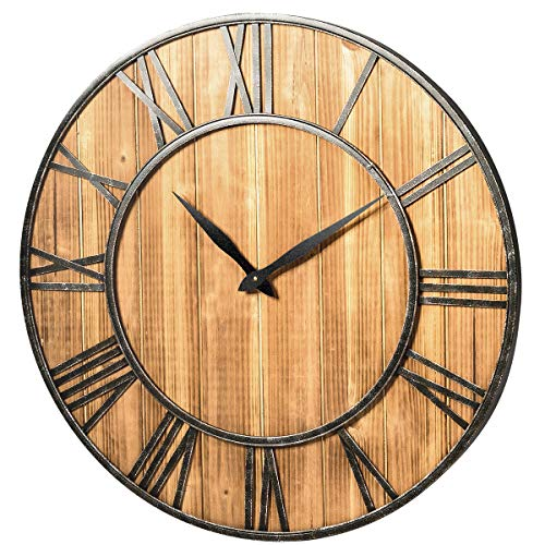 Tangkula Round Wall Clock, Silent Non Ticking, 30 Inch Wall Clock with Roman Numerals, Decorative Wooden Wall Clock, Come with AA Battery, Rustic Wall Clock Hanging for Home Offiice (Bronze+Brown)