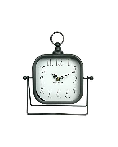Rae Dunn Desk Clock – Battery Operated Modern Metal Rustic Design with Top Loop for Bedroom, Office, Kitchen – Small Classic Analog Display – Chic Home Décor for Desktop Table, Countertop