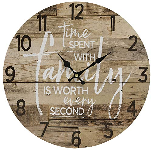 Time Spent with Family Worth Every Second – Round Wood Style Wall Clock for Home- Arabic Numerals, Farmhouse Rustic Home Decor – Wooden Round Home Decoration Wall Clock – 13 Inches Diameter