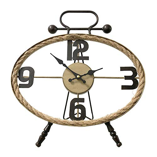 MODE HOME Oval Metal Table Clock with Rope Farmhouse Desk Clock Decorative