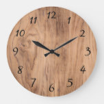 Natural Light Brown Wood Grain Accent Large Clock