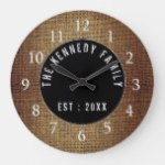 Rustic Burlap Family Name Farmhouse Large Clock