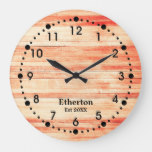 Rustic Maple Color Wood Style Acrylic Clock