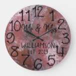 Rustic Personalized Distressed Rust Custom Large Clock