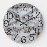 Rustic Personalized Grey Wood Custom Large Clock