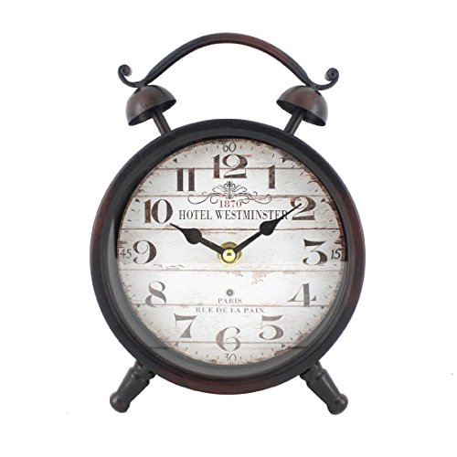 Handcrafted Metal Analog Silent Quartz Desk Clock,8.4″x6.4″,vintage Rustic Look with Handle,Glass on Front (Black)