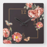 Chocolate Brown Rustic Autumn Rose Square Wall Clock