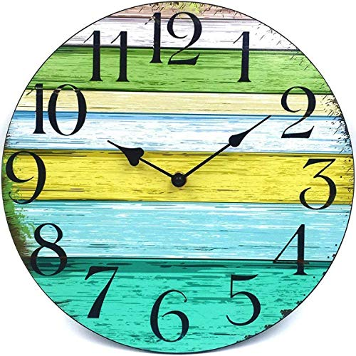 Coindivi 12″ Silent Non Ticking Wall Clock, Retro Wooden Decorative Round Wall Clock Quality Quartz Battery Operated – Vintage Rustic Country Tuscan Style Farmhouse Decor (12 inch D)