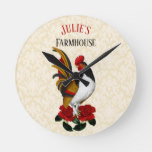 French Country Farmhouse Rooster Red Black Gold Round Clock