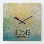 Gold turquoise stone pattern Home Family name Square Wall Clock