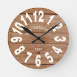 Rustic Barnwood Farmhouse Family  Large Numbers Round Clock