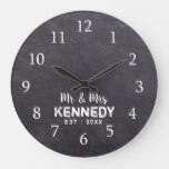 Rustic Chalkboard  Wedding Mr And Mrs Large Clock