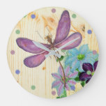 Rustic Dragonfly Purple Flowers Blue Wood Shabby Large Clock