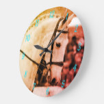 Rustic style grey show hunter large clock
