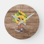 Rustic Sunflowers Cowboy Boot Wood Southern Living Round Clock