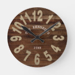 Rustic Wood Farmhouse Family Name Large Numbers Round Clock