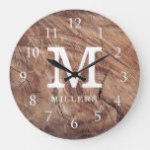 Weathered Wood Farmhouse Family Monogram Large Clock
