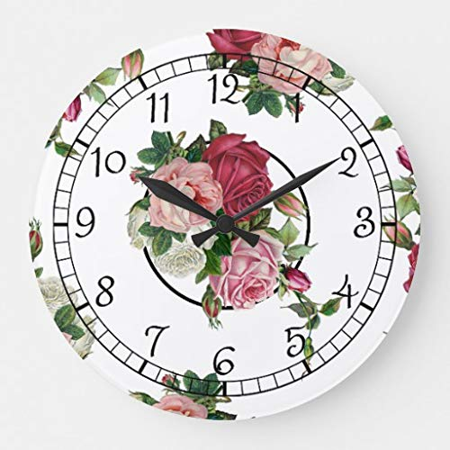 EnjoyHome Rustic Pretty French Country Floral Country Decoration Wood Clock Silent Non-Ticking Battery Operated Wall Clock 14 inches