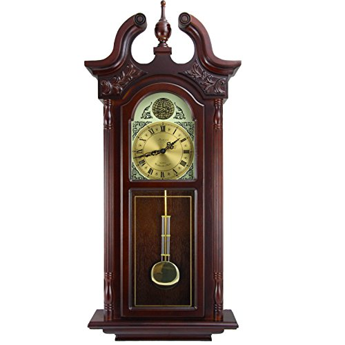 Bedford Clock Collection 38″ Grand Antique Colonial Chiming Wall Clock with Roman Numerals in a Cherry Oak Finish