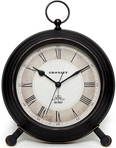 "Timelink Vintage Finial Crosley Classic Alarm Clock for Desk and Mantel, Antique Distressed Finish, All Metal Construction, Large 8"" Diameter, Roman Numeral Dial"