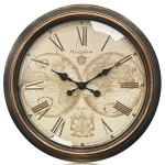 Westzytturm Rustic Wall Clock 22 inches Glass Cover Vintage Big Roman Numeral Wall Clocks Battery Operated Non Ticking Silent Large Decorative Clocks for Living Room Office Bedrooms Home Kitchen Gold