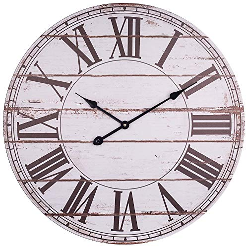 BEW Large Wall Clock, 24 Inch Vintage Roman Numerals Wooden Silent Non-Ticking Battery Operated Quartz Movement, Large Rustic Decorative Clock for Living/Dining/Bedroom/Kitchen (White)