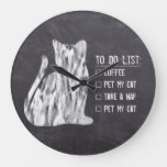 Cat Art To Do Coffee Nap Pet Rustic Chalkboard Large Clock