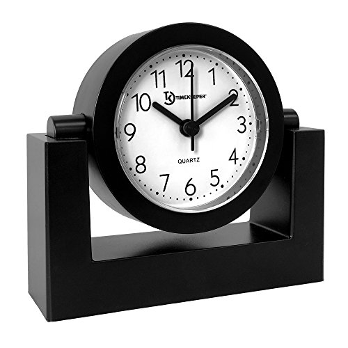 Timekeeper Desktop Swivel Clock for Desk | Shelf | Tabletop, Black Frame w/White Face,