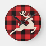 Christmas Holiday Deer Antlers Red Black Gingham Round Clock