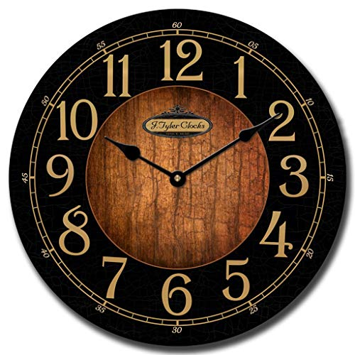 Black & Wood Wall Clock, Available in 8 Sizes, Most Sizes Ship The Next Business Day,