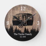 Rustic Forest Camping Trailer Happy Campers Family Round Clock