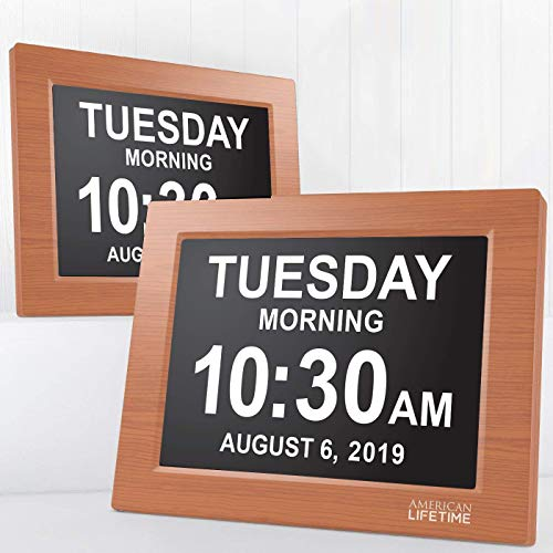American Lifetime [Newest Version] Day Clock – Extra Large Impaired Vision Digital Clock with Battery Backup & 5 Alarm Options (Brown Wood Color – 2 Pack)