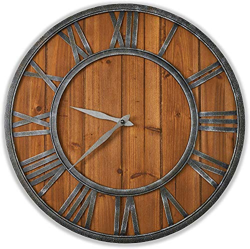 ModiVérza Large Wall Clock – Farmhouse Style – Natural Wood – Quartz Motor – Vintage Metal Trim – Rustic Kitchen Decor – Battery Powered – Home Decor – 18 inch – Noiseless Big Wall Clock – Shiplap