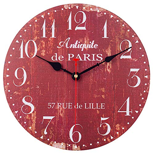 SkyNature Wooden Wall Clock, Silent Non-Ticking Battery Operated Quartz Movement, Large Arabic Numerals Vintage Rustic Decorative Clock for Living, Dining, Bedroom, Kitchen – 12 Inch, Distressed Red