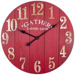 BEW Large Wall Clock, Gather Laugh & Love – Rustic Decorative Clock with Metal Numbers, Entirely Silent Solid Wooden Clock Great for Living Room, Dining Room, Bedroom, Kitchen, Farmhouse – 24 Inch