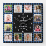 Blue Plaid 12 Photo Collage Family Quote Christmas Square Wall Clock