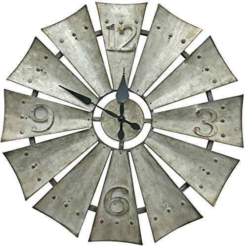Avera Products Rustic Metal Windmill 16″ Wall Clock