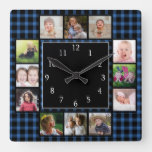 Create Your Own 12 Photo Collage Blue Plaid Square Wall Clock