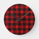 Deer Buffalo Plaid Holiday Rustic Lumberjack Round Clock