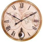 BEW Large Wood Wall Clock, 24 Inch Roman Numerals Vintage World Map Silent Non-Ticking Battery Operated Quartz Movement, Rustic Decorative Pendulum Clock for Living/Dining/Bedroom/Kitchen