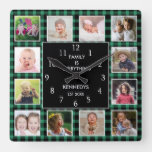 Green Plaid  Photo Collage Family Quote Christmas Square Wall Clock