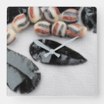 Obsidian Arrowheads with Rust & Black Glass Beads Square Wall Clock