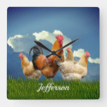 Red Rooster and Hens Cloudy Sky Square Wall Clock