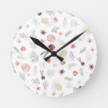 Rustic green burgundy floral watercolor pattern round clock
